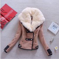 2014 Autumn Winter Women Coat Woolen Down Jacket Casacos Femininos Desigual Rabbit Fur Coat Plus Size Spring Outerwear Coat A089