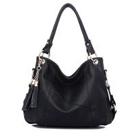 100% genuine leather handbag 2014 women vintage shoulder bags tassel cross-body bag women leather handbag women messenger bag