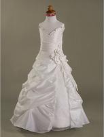 Custom  A-line Spaghetti Straps Floor-length Taffeta Organza Flower Girl Dress/Ball Gown Free shipping WD081