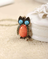 Promotion! Wholesale! Vintage brand new female jewelry colorful resin cute alloy owl necklace   SN548