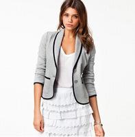 new 2014 autumn Fashion women Turn-down Collar Slim short blazers long sleeve suit jackets casual blouse vestidos plus size S-XX