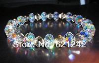 2013Exclusive women Jewelry Bracelets 6-8mm Flat Colorful Crystal Beads Bangle 12pcs Wholesale Jewelry Bracelet Crystal XZCB9-4