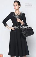 2014 V-neck autumn long-sleeve knitted slim big skirt women's one-piece dress