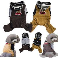 High Quality Cotton / Corduroy Material Romper Suit Dog Clothes Pet Jumpsuit Clothing Brown +Khaki Color