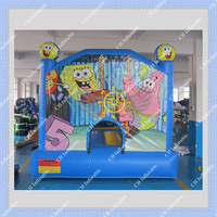 On Sale Hot Inflatable SpongeBob Bouncer Good Quality Blue Color  DHL FREE Shipping CE or UL  Blower included/Can be Customized