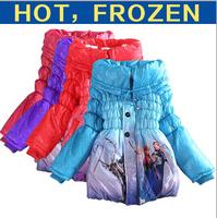 Girls Frozen coats Children's Coat Cute Girls Warm Coat Winter Children Cotton Jacket thick Cotton-Padded Clothes free shipping
