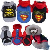 100% Cotton Material Superman / Batman Printing Sport Hood Dog Clothes Pet Clothing Grey + Black + Blue
