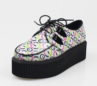 2014 new fashion creepers women harajuku platform flat casual vivi  gothic punk harajuku creeper platform Free Shipping EU 35-39