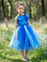 Custom A-line Bateau Knee-length Satin And Tulle Tutu Dress/Flower Girl Dress With Flower WD082