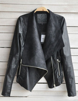 2014 New Arrival Women Leather Jacket Slim Leather Motorcycle Jacket Turn Down Long Sleeve Zipper Jacket Coat  A090