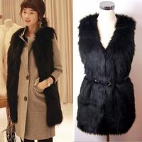 New 2014 Winter Female Faux Fur Vest Long Women V Neck Sleeveless Jacket Outerwear Plus Size 3XLFur Vest Coat Short Waistcoat