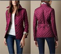 Women Fashion Brand British Short Cotton Padded Jacket/Designer Plaid Collar Casual Coats Elegant Outerwear #A