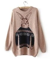 Female cartoon loose cardigans Turtleneck knit sweater coat woolen fashion casual women's clothing Free Shipping