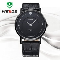 WEIDE men solid stainless steel genuine leather strap watches Ronda Quartz movement male clock wristwatches waterproof WG93001