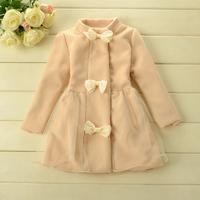 2014 New,girls princess coats,children fashion outerwear jackets,bow,3 colors,5 pcs / lot,wholesale,1711