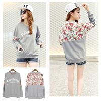 2014 New Fashion Autumn Women's Cotton Loose Patchwork Hoodies Letter Sweatshirt Lace Stitching 3D Flowers 019