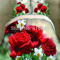 2014 New arrival!100% cotton red roses flower 3d bedding set  4pcs queen size line bed set  bedspread/bedclothes/duvet cover
