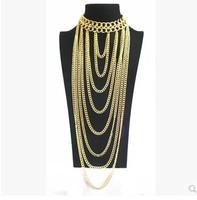 Xmas gifts Punk style tassel body chain evening dress bikini necklace sweater chain Gold personality women 1pcs