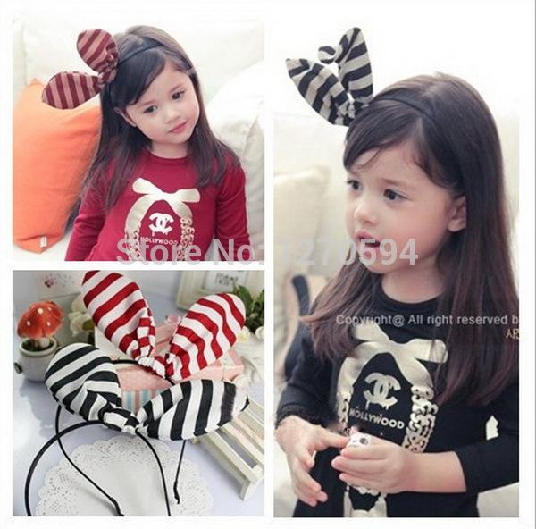 Selected Quality Girl Bunny Ear Butterfly Hairband Red Black Strip Pretty Hairband Baby Girl Head Wear Fashion Princess Headband(China (Mainland))