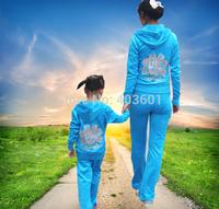 Free shpping  parent-child children's wear velvet Children Hoodies+Pants women's and children style,4 color 8091