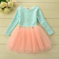 2014 New,girls lace princess dress,children autumn floral dress,long sleeve,beads,bow,3 colors,5 pcs / lot,wholesale,1713