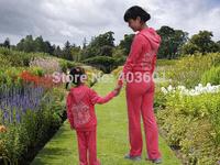 Free shpping  parent-child children's wear velvet Children Hoodies+Pants women's and children style,3 color 8090