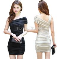 Women bouffant dress Sleeveless Sexy Mini dress black apricot Ladies Slim dress Summer One piece fourreau