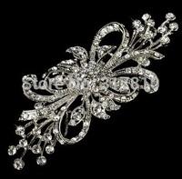 "3.75"" Rhodium Silver/Gold Tone Extra Large Size Rhinestone Diamante Wedding Brooch"