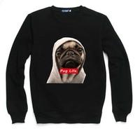 Pug Life Dog Sweatshirt For Women Men Flocking Hoodies Lady Casual Fleece Hoody Pullover Thick Moleton Feminino XXXL ZY053-08