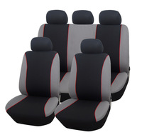 Black Gray With Red Piping 9-piece Front Rear Car Seat Covers Set Protector For Crossovers SUV Sedans Universal