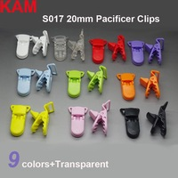 400pcs 10 Colors For Options  KAM Plastic Clip Plastic Pacifier Clip Transparent Soother Clip For Baby Mix Colors S017 20mm