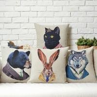 Nordic IKEA  Cute cartoon  Fun Animals cartoon Linen pillow cover cushion cover Square Pillowcases Home Decor sofa cushions