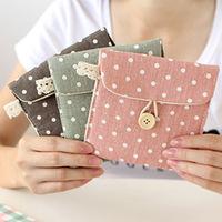 MeetU Korean fresh wave point napkin tissue pouch bag card bag retro fashion,cheap canvas Coin Purse Change Purse coin case