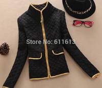 Women's clothing of new fund of 2014 autumn winters lattice cotton-padded jacket collar PU leather edge short coat