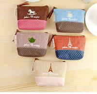 MeetU Korean version of the pastoral style cotton coin bag small time creative canvas purse, hot Wallets key case bag