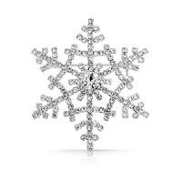 2 Inch Sparkly Silver CZ Rhinestone Diamante Wedding Bouquet Snowflake Brooch