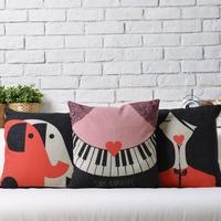 Black Melody  Nordic IKEA  Love cute cartoon Linen pillow cover cushion cover Square Pillowcases Home Decor sofa cushions