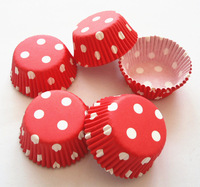 Free Shipping 300pcs RED with White Polka Dot Cupcake Liners Baking Cups Party Decorations Base33mm Height20mm