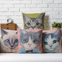 Creative Animals Cartoon CAT KITTY cartoon Linen pillow cover cushion cover Square Pillowcases Home Decor sofa cushions