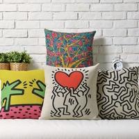 Nordic IKEA Personalized Graffiti Cafe Creative Arts Linen pillow cover cushion cover Pillowcases Home Decor sofa cushions
