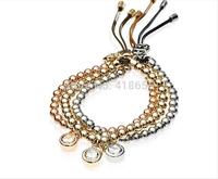 Freeshipping the latest fashion luxury bracelets 18K gold plated bracelets letter bead bracelet for women