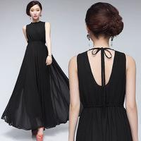 S-XXL Women Dresses lady plus size 2014 Summer Casual Sleeveless Chiffon Long Dress Sexy backless Party Dress 2 Colours