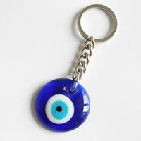 Evil eye round D3cm key chain 1pcs/bag nazar key ring bag charm car protection good luck Kabbalah Jewish Pendant