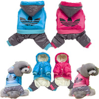 Nylon Taffeta Material Dog Clothes Pet Hood Clothing Warm Coat Pink + Blue