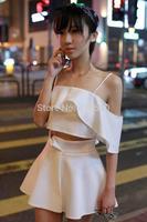 Thailand fashion Slash neck ruffle spaghetti strap sexy top puff skirt solid white sets summer skirt women sets