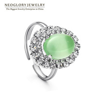 Neoglory Oval Glass Rhinestone Platinum Plated Romantic Party Rings Charm Jewelry Accessories 2014 New Wedding Fashion Costume