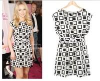 2014 new summer women  fashion sleeveless plaid pattern beautiful dress plus size M L women knee-length dress 1373