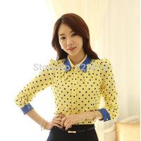 2014 new HOT! White /Yellow Korean Polka Dot Shirt Women Chiffon Blouses Tops Gorgeous Shirts long Sleeve Shirts