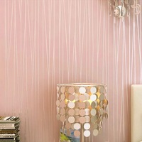 Modern plain pink wallpaper stripe classic pink wall paper striped non-woven wallcovering pink papel de parede listrado