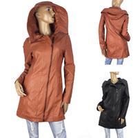 New Large Size Women European and American Style Zip Slim Long Leather Women Coat XXXL 4XL 5XL Light Brown Black Y8861
